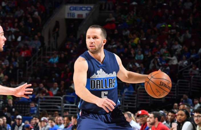 PHILADELPHIA, PA - MARCH 17:  J.J. Barea #5 of the Dallas Mavericks dribbles the ball against the Philadelphia 76ers  at Wells Fargo Center on March 17, 2017 in Philadelphia, Pennsylvania NOTE TO USER: User expressly acknowledges and agrees that, by downloading and/or using this Photograph, user is consenting to the terms and conditions of the Getty Images License Agreement. Mandatory Copyright Notice: Copyright 2017 NBAE (Photo by Jesse D. Garrabrant/NBAE via Getty Images)