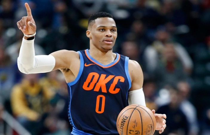 INDIANAPOLIS, IN - DECEMBER 13:  Russell Westbrook #0 of the Oklahoma City Thunder dribbles the ball against the Indiana Pacers at Bankers Life Fieldhouse on December 13, 2017 in Indianapolis, Indiana.  NOTE TO USER: User expressly acknowledges and agrees that, by downloading and or using this photograph, User is consenting to the terms and conditions of the Getty Images License Agreement.  (Photo by Andy Lyons/Getty Images)