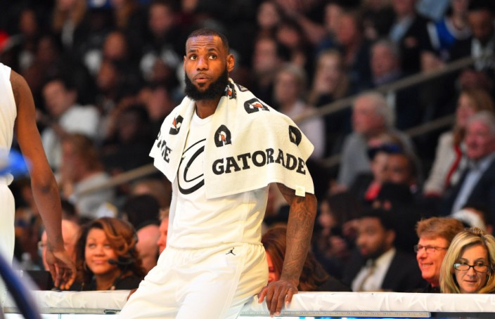 February 18, 2018; Los Angeles, CA, USA; Team LeBron forward LeBron James (23) of the Cleveland Cavaliers sits on the scorers table during the second half of the 2018 NBA All Star Game at Staples Center. Mandatory Credit: Bob Donnan-USA TODAY Sports