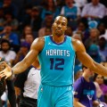 Oct 20, 2017; Charlotte, NC, USA; Charlotte Hornets center Dwight Howard (12) reacts to a foul in the second half against the Atlanta Hawks at Spectrum Center. Mandatory Credit: Jeremy Brevard-USA TODAY Sports ORG XMIT: USATSI-362236 ORIG FILE ID:  20171020_ads_bb4_116.JPG