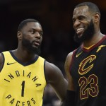 Apr 15, 2018; Cleveland, OH, USA; Indiana Pacers guard Lance Stephenson (1) stands beside Cleveland Cavaliers forward LeBron James (23) in the third quarter in game one of the first round of the 2018 NBA Playoffs at Quicken Loans Arena. Mandatory Credit: David Richard-USA TODAY Sports ORG XMIT: USATSI-381270 ORIG FILE ID:  20180415_gav_ar7_105.jpg
